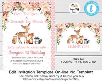 Woodland Birthday Invitation 1st Floral Templett