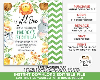 1st birthday invitations boy etsy editable safari 1st birthday invitation safari birthday invitation safari watercolor invitation safari animals birthday invitation filmwisefo