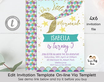 Editable 4x6 Mermaid Tail Birthday Invitation, Instant Download 4x6 Mermaid Birthday Invitation, Mermaid Birthday Invitation, Templett