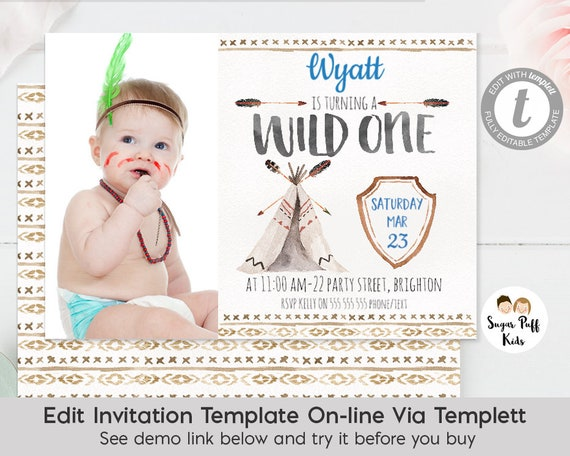 Wild One Watercolor Teepee 1st Birthday Invitation Tribal