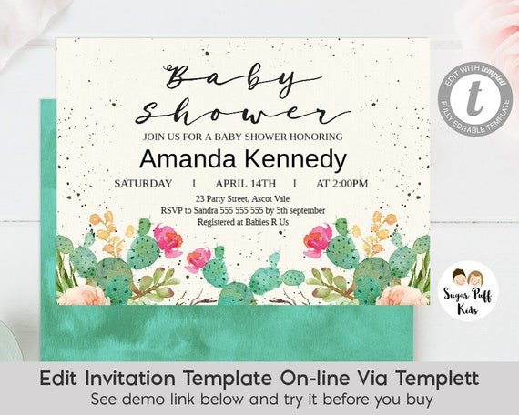 Watercolor Fiesta Cactus Baby Shower Invitation Themed