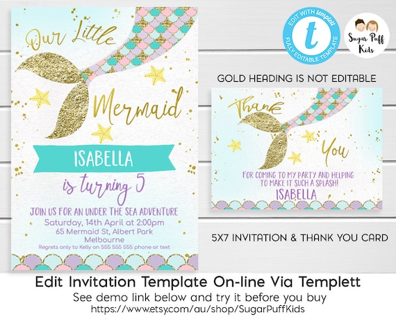 Mermaid Birthday Invitation And Thank You Card Mermaid Tail