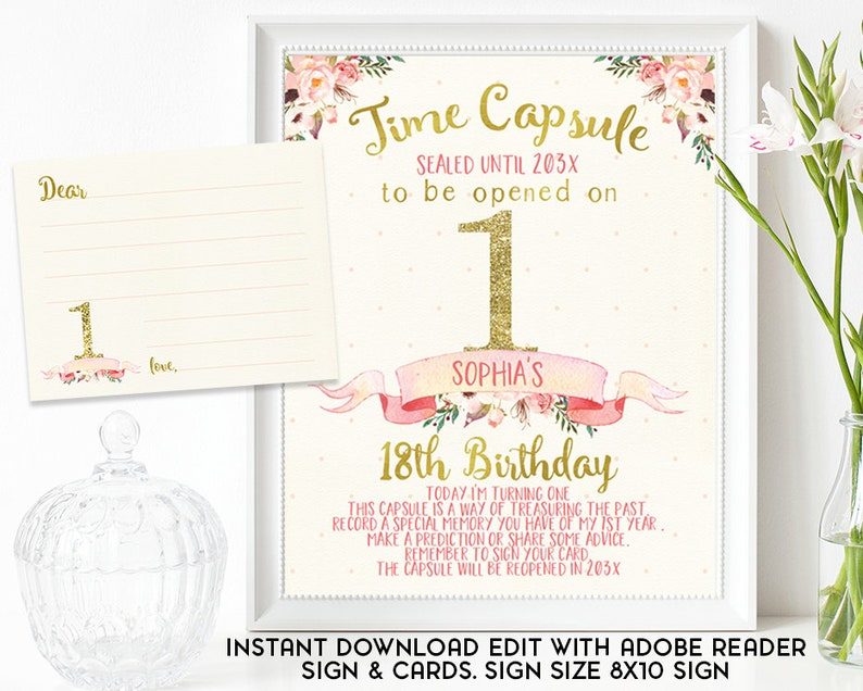 Floral And Banner 1st Birthday Time Capsule Sign Gold Pink Floral Time Capsule sign Girls 1st Birthday Time Capsule Sign And Cards