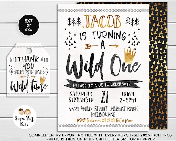Wild One Birthday Party Invitation Gold Crown