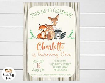 Woodland Birthday Invitation Girl, Woodland Birthday Invitation, Woodland Animals Birthday Invitation, Woodland 1st Birthday Invite