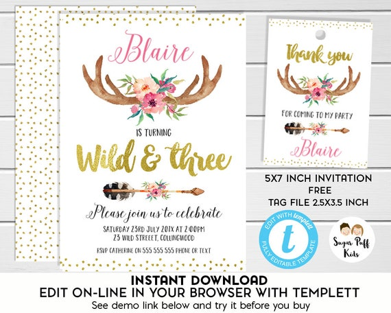 Wild And Three Birthday Invitation Girl Instant Download Girls Tribal 3rd Templett