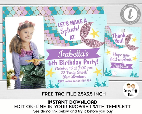 Editable Photo Mermaid Tail Birthday Invitation And Favor Tags Templett