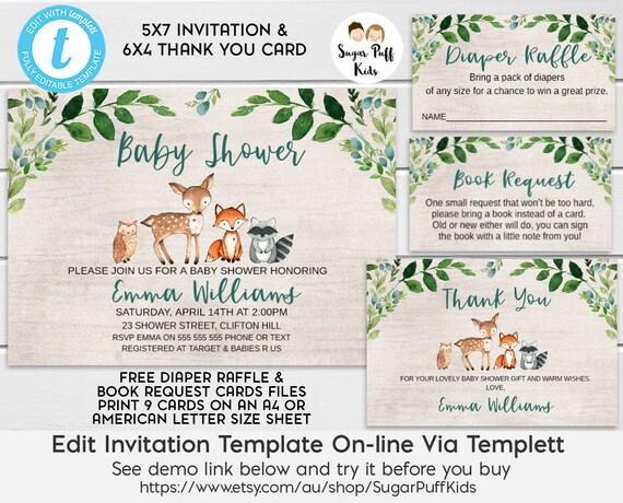 Woodland Animals Baby Shower Invitation Woodland Foliage