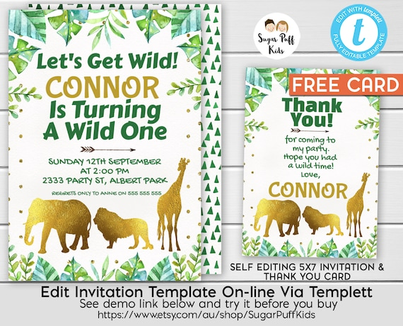 picture relating to Printable Jungle Animals named Jungle 1st Birthday Invitation, Safari Pets Birthday