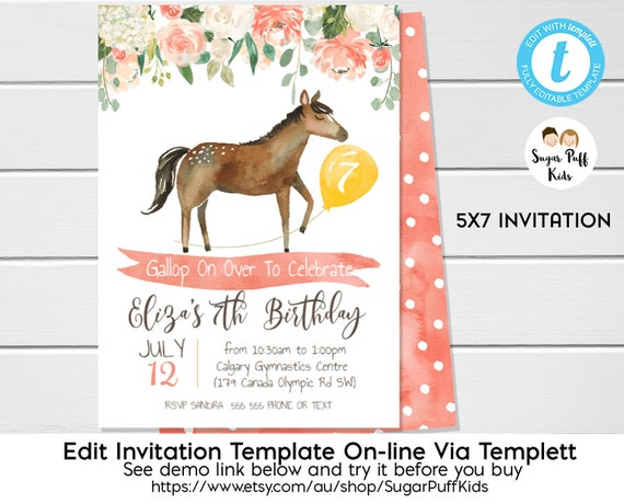 Horse Birthday Invitation Invite