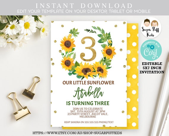 Girls Sunflower 3rd Birthday Invitation Instant Download