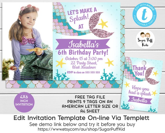 Editable 6x4 Inch Photo Mermaid Tail Birthday Invitation And Favor Tags Templett