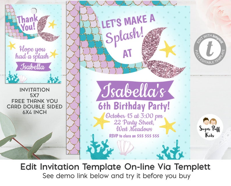 Editable Mermaid Tail Birthday Invitation And Favor Tags