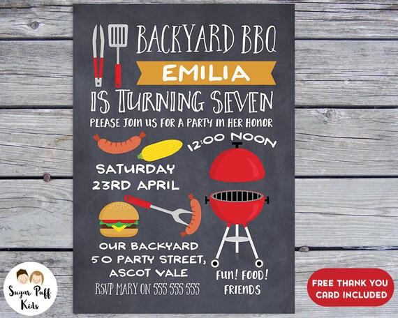 chalkboard bbq birthday party invitation bbq party invitation bbq