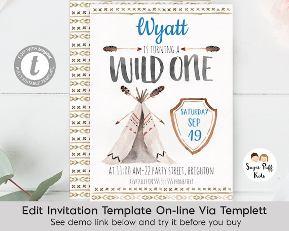 Watercolor Wild One Birthday Invitation 1st Boy Party Invite Templett