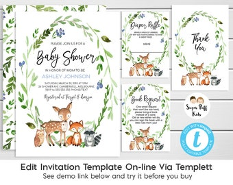 Boys Woodland Baby Shower Invitation, watercolor Woodland Baby Shower Invitation, Boys Woodland Animals Baby Shower Invitation, Templett