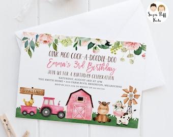 Editable Pink Farm Birthday Invitation, Printable Farm birthday invite, Pink Barn birthday invitation, Barnyard, Farmyard, Instant Download