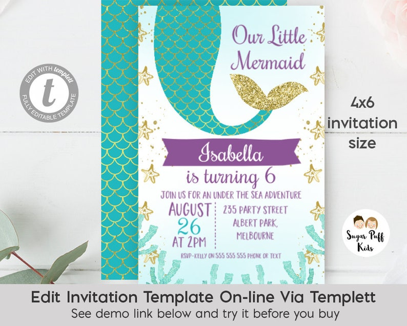 Editable Mermaid Birthday Invitation Tail