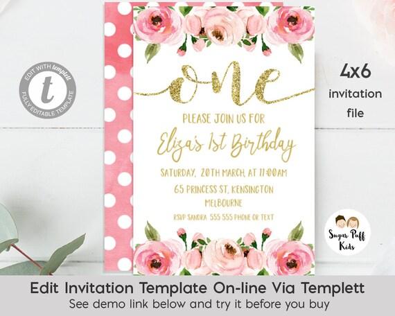 4x6 1st Birthday Invitation, Girls First Birthday Invitation, Floral 1st Birthday Invitation,Floral 1st Birthday Invitation, Templett