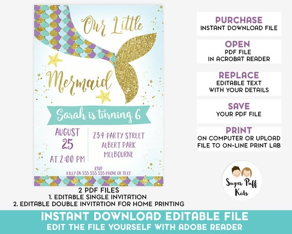 Editable Mermaid Tail Birthday Invitation Instant Download