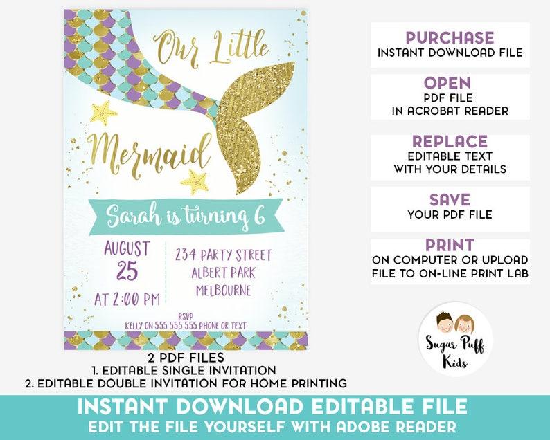 Editable Mermaid Tail Birthday Invitation Instant Download