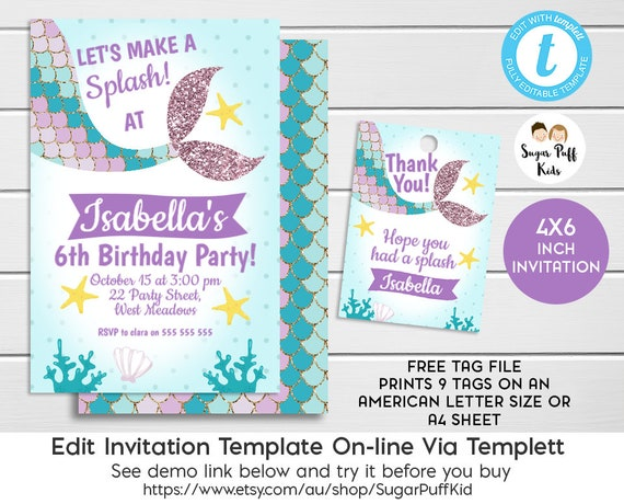 Editable 4x6 Inch Mermaid Tail Birthday Invitation And Favor