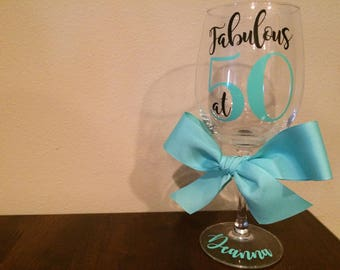 Custom 50th Birthday Wine Glass | Fabulous at 50 | 50th Birthday Gift For Women | 50th Birthday Gift