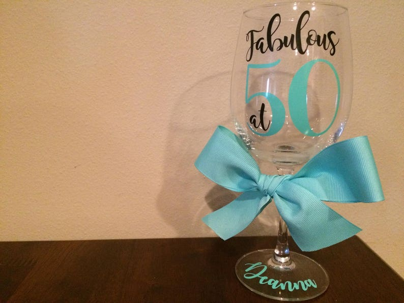 Custom 50th Birthday Wine Glass Fabulous At 50