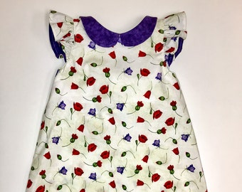 Spring floral A-line with bow and collar