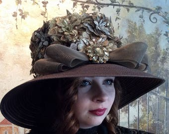 Romantic Flowered Brown Derby Hat