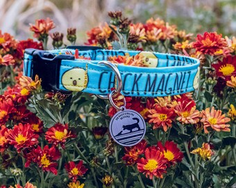"Handmade Dog Collar in Aqua with Chicks / ""Chick Magnet"" / Side Buckle Collar / Organic Cotton / Made To Order Pet Wear"