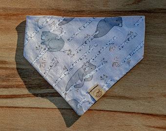 "Handmade Dog Bandana in Gray, Pink, & Blue Bears / ""Paper Birch"" / Tie-On Bandana / Organic Cotton / Made To Order Pet Wear"