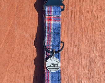 """Handmade Dog Collar in Red, White, & Blue Plaid / """"Manchester"""" / Side Buckle Collar / Kaufman Flannel / Made To Order Pet Wear"""