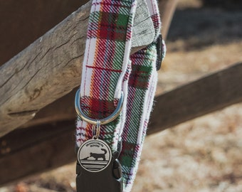 "Handmade Dog Collar in Green, Red, & White Flannel Plaid / ""Burlington"" / Side Buckle Collar / Soft Flannel / Made To Order Pet Wear"