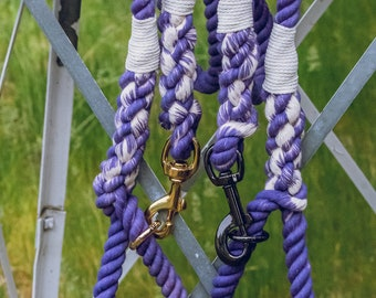 Lavender and White Dog Leash / Nautical Dog Leash / Braided Cotton Dog Leash / Hand Dyed Rope Leash