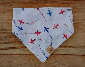"Handmade Dog Bandana in Red, White, & Blue w/ Jet Planes / ""Co-Pilot"" / Tie-On Bandana / Organic Cotton / Made To Order Pet Wear"