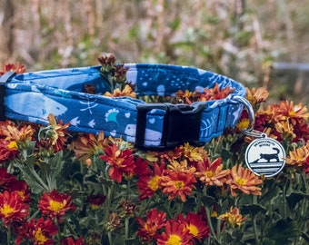 "Handmade Dog Collar in Navy Blue Ocean Sharks Fish / ""Shark Bait"" / Side Buckle Collar / Organic Cotton / Made To Order Pet Wear"