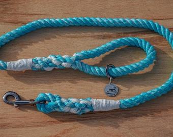 Sky Blue and White Rope Dog Leash / Nautical Dog Leash / Braided Cotton Dog Leash / Hand Dyed Rope Leash