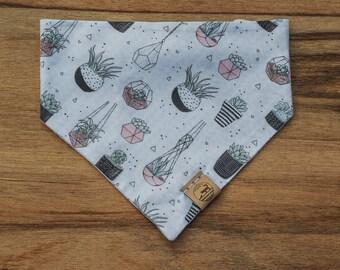 "Handmade Dog Bandana in White w/ Cacti and Succulents / ""Aloe"" / Tie-On Bandana / Organic Cotton / Made To Order Pet Wear"