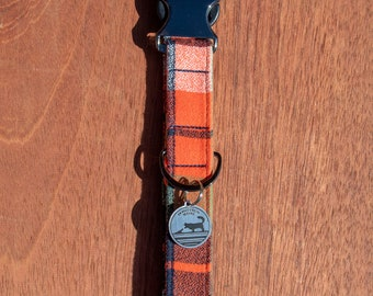 "Handmade Dog Collar in Orange, Green, & Navy Plaid / ""Morton"" / Side Buckle Collar / Kaufman Flannel / Made To Order Pet Wear"