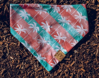 """Handmade Dog Bandana in Salmon and Teal Palm Trees / """"Palm Springs"""" / Tie-On Bandana / Organic Cotton / Made To Order Pet Wear"""