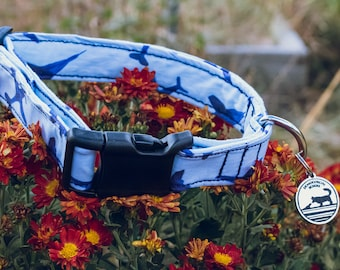 """Handmade Dog Collar in Blue with Jet Airplaines / """"Pilot"""" / Side Buckle Collar / Organic Cotton / Made To Order Pet Wear"""