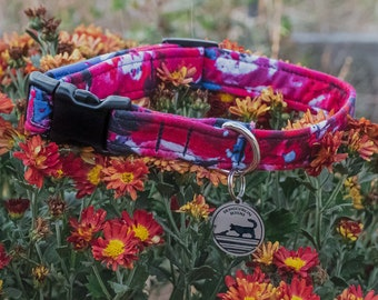 "Handmade Dog Collar in Red, White, & Blue Paint Splatter / ""Splatter"" / Side Buckle Collar / Organic Cotton / Made To Order Pet Wear"
