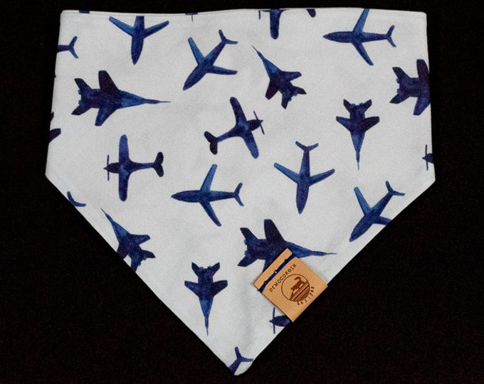"Featured listing image: Handmade Dog Bandana in Blue w/ Jet Planes / ""Pilot"" / Tie-On Bandana / Organic Cotton / Made To Order Pet Wear"