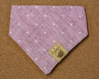 "Handmade Dog Bandana in Pink Polka Dots / ""Toad Lilly"" / Tie-On Bandana / Organic Cotton / Made To Order Pet Wear"