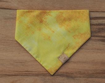 "Handmade Dog Bandana in Yellow Shibori / ""Marigold"" / Tie-On Bandana / Organic Cotton / Made To Order Pet Wear"