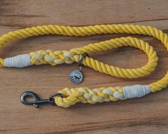 Yellow and White Rope Dog Leash / Nautical Dog Leash / Braided Cotton Dog Leash / Hand Dyed Rope Leash