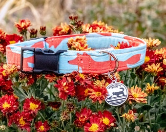 """Handmade Dog Collar in Blue with Red Foxes / """"Reynard"""" / Side Buckle Collar / Organic Cotton / Made To Order Pet Wear"""