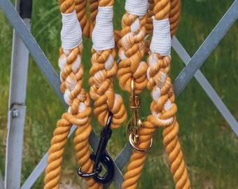 Mustard and White Dog Leash / Nautical Dog Leash / Braided Cotton Dog Leash / Hand Dyed Rope Leash