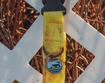 "Handmade Dog Collar in Yellow Shibori / ""Marigold"" / Side Buckle Collar / Organic Cotton / Made To Order Pet Wear"